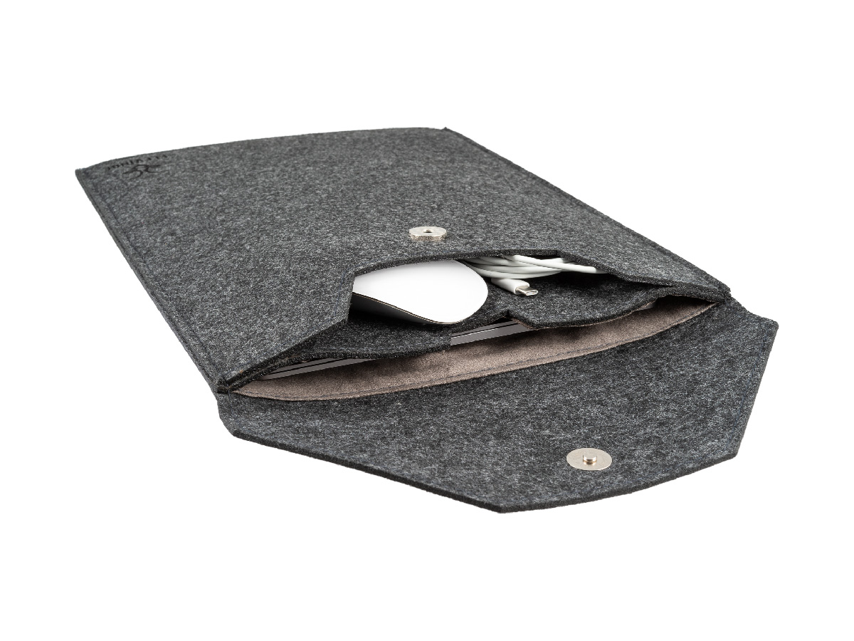 Open front Stafford Laptop Sleeve Felt packed with MacBook Air, Apple Magic Mouse and a usb cable
